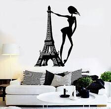 Vinyl Wall Decal Paris Woman Eiffel Tower Fashion Girl Room Stickers (ig4363)