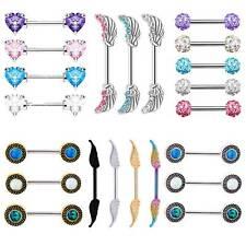 Buy 2 Get 2 Free! Crystal Nipple Bar Rings Straight Barbells Surgical Steel 14g