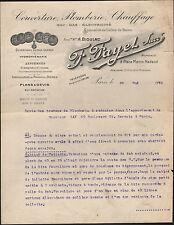 """PARIS (XX°) COUVERTURE / PLOMBERIE / CHAUFFAGE """"F. FAYET"""" en 1924"""