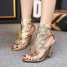 Fashion  Women's Open Toe Sandals Angel Wings Straps High Heels Stilettos Shoes