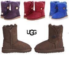 UGG Australia Girls Kids NEW Bailey Button Winter Snow Boots Sheepskin Suede