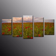 Canvas Prints Art Red Poppy Flower Painting Wall Canvas Art Home Decor-5pcs