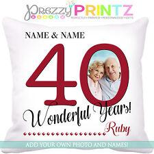 ❤ Cuscino Personalizzato Anniversario 40TH Rubino Matrimonio Amore Mr & Mrs regalo foto ❤