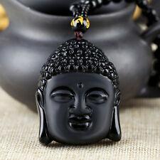 Natural Obsidian Shakyamuni Gautama Vairocana Buddha Chain Necklace Pendant