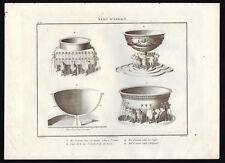 MER D'AIRA DANS LE TEMPLE DE SALOMON à JERUSALEM Gravure originale 1844 Judaica
