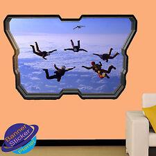 SKY DIVING PARACHUTE ART 3D WINDOW WALL STICKER ART ROOM DECOR DECAL MURAL ZT5