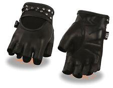 Ladies Premium Leather Fingerless Gel Palm Glove w/ Rhinestone