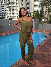 Jumpsuit Khaki Green Silk Crepe Romper,Overall Playsuit 10-14, Kaftan Silk Crepe