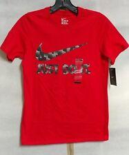 Boy's Nike Just Do It Pixel Swoosh Logo T-Shirt Red Size S & M # AA8873-657