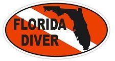FLORIDA SCUBA DIVING Oval Bumper Sticker or Helmet Sticker D1840 Euro Oval