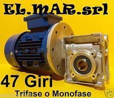 Motoriduttore 47 Giri HP 0,5 Riduttore di giri Motore Monofase Trifase Kw 0,37