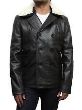 Men's German Real Cowhide Leather Pea Coat -  Brandslock Real  Leather Coats