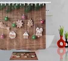 Christmas Balls and Spruce Twigs Shower Curtain Bathroom Decor Fabric &hooks Set