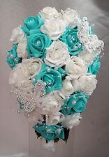 Wedding BOUQUET LACE farfalle con strass TIFFANY Blu e Bianco / Avorio