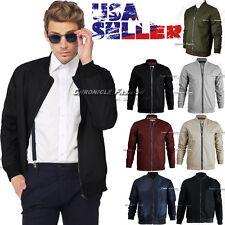 Mens Classic Bomber Jacket Fashion Slim Fit Casual Pilot Flight Light Style Coat