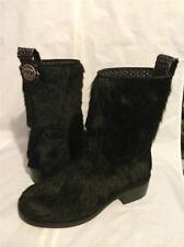 CHANEL 14A Pony Hair Calfskin Leather Tweed CC Medallion Tab Short Boots $2095