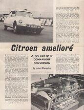 Citroen ID 19 Connaught GT 1963 UK Market Road Test Brochure Sports Car DS
