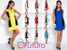 Elegant Women's Summer Mini Dress Sleeveless Scoop Neck Tunic Size 8-12 8492