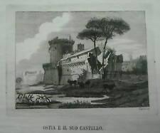 LAZIO_OSTIA_BELLA ANTICA VEDUTA PASTORALE_CASTELLO_INCISIONE DA COLLEZIONE