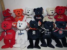 "U PICK YOUR TEAM 1 MLB BASEBALL TY Beanie baby TEDDY BEAR logo COLOR NWT 8"" Size"