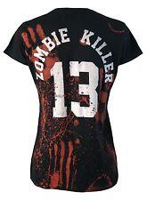 ZOMBIE KILLER 13 GENUINE DARKSIDE WOMENS ZOMBIE BLOOD SPLATTER BLACK T SHIRT