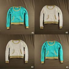 Juicy Couture Womens Gold Trim Lurex Eyelash Crop Sweater Velvet Crush NWT $60!