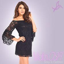 657102a469ef Vestito mini abito donna miniabito carmen scollo barchetta pizzo elegante  nuovo