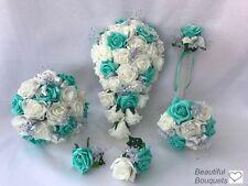 Fiori Da Matrimonio Avorio Rosa Farfalla Bouquet Sposa Damigelle Posy GIRL Wand
