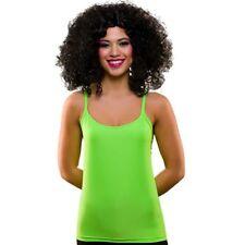 Mujer 1980s Disfraz Neón Verde Camiseta AÑOS 80 Chaleco Estiramiento Nuevo