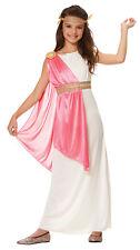 ROMAN EMPRESS ATHENA GREEK GODDESS TOGA CHILD KIDS GIRLS COSTUME WHITE PINK