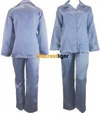 Blue & White Ladies Satin Pyjamas Silk Pj Winter Pajamas Full Length Sleepwear