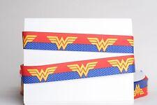 "SUPERHERO WONDER WOMAN 7/8"" Grosgrain Ribbon 1, 3, 5, 10 Yards SHIP FROM USA"