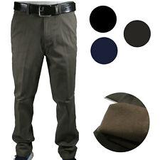 Pantalone Uomo Invernale Imbottito Pile Elegante Classico Caldo Foderato 46-60