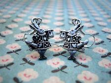 Funky Plata Conejo Aretes Cute Kitsch Retro Cuento De Hadas Bunny Alice Wonderland