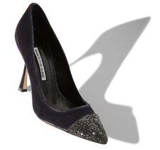 $995 NEW Manolo Blahnik CRYSTALBI 105 BB Velvet Grey Pumps Jeweled Shoes 39 41.5