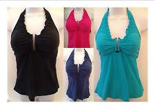 Croft & Barrow Swim Swimsuit Tankini Swimwear Halter Solid Black pink Blue 6 8