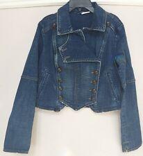 NWT Free People military denim jacket in vintage blue Retail $148