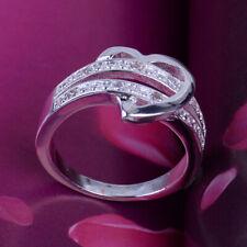 Damen Silber Herz Liebe Zirkon Kristall Band Ring Hochzeits Verlobungs Ehering
