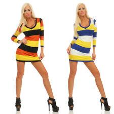 3584 Robe Mini pour femme manches longues cintré rayures Mailles fines col en V