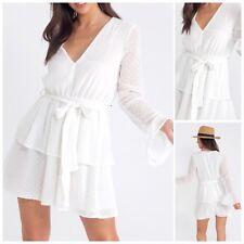 White Sheer Ruffle Tiered Bell Sleeve Tier Belted Skirt Summer Dress Size:8 -14