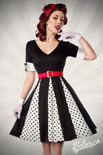 Retro-Godet-Kleid mit V-Ausschnitt und Dots