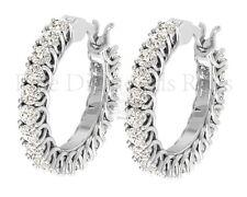 1.10 Carat Round Brilliant Cut Diamonds Hoop Earrings in Gold and Platinum