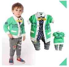 TODDLER BOY 3 PC Outfit Set Casual Festa Tuta Taglia 1-5 anni giacca + top + pantaloni
