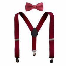 Kids Boys Suspenders and Solid Color Bow Tie Set Elastic Adjustable Unisex