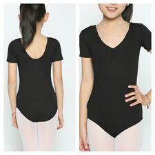 Dance Leotard.Black Gymnastic/Ballet Costume.3-12Years.PE School Uniform.