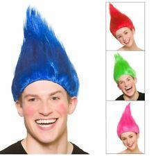 Adults Troll Wig Fancy Dress Halloween Colourful Hair Poppy Pixie Elf Cosplay