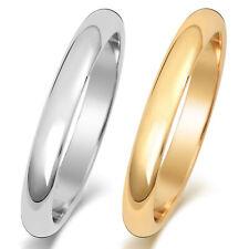 Bague de Mariage/Alliance Homme/Femme 3mm Forme D Or Blanc/Jaune 18/9 k/carat