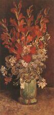 Vase Gladio & Carnations Paris Van Gogh VG267 Repro Art Print A4 A3 A2 A1