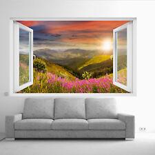 Mountain FLEURS Paysage Wall stickers 3D Art Mural Chambre Bureau Home Decor UP2
