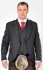 Dark Grey Arrochar Tweed Crail Scottish Kilt Jacket & Vest Made In Scotland
